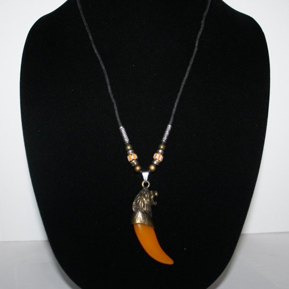 Awesome black bronze and orange tiger necklace